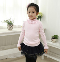 Wholesale Autumn Girls Wild hedging round neck shirt Knit sweaters Basic coat for girls Baby clothing Pleated Collar Sweaters