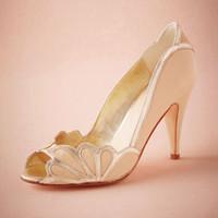Pumps ballet toe shoes for women - Blush Wedding Shoes Scallop Heel Peep Toe Bridal Sandal Pumps PU Leather quot Kitten Heels Stilettos Blue Bridal Shoe Slip on Pumps For Women