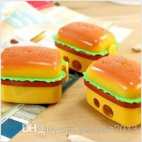 Wholesale New double holes Double Layer simulation Hamburger Pencil Sharpener cutters cute cutter sweet yellow cute cartoon desgin gift