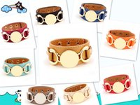 Wholesale New Style Monogram Leather Cuff Bracelet Pulseras Row Gold Silver Plated Multicolor Leather Charm Bracelet For Women Men