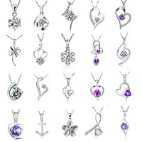 Wholesale Top Mixed Different Color Crystal Pendant Silver Charms Jewelry For Women Girl