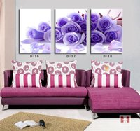 Cheap 2014 Modern Home Interior Deco Canvas Oil Painting Purple Rose Flower Printed Art Picture Wall Mural Room Decoration D16-18 Sale
