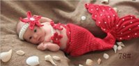 Cheap Free shipping little mermaid leaf baby blanket Costume Set checking Children Knit crochet photography props hats Newborn