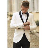 Wholesale 2016 New White Jacket With Black Satin Lapel Groom Tuxedos Groomsmen Best Man Suit Men Wedding Suits Jacket Pants Bow Tie set