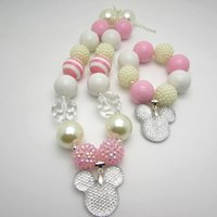 Wholesale 2015 New cute girls mickey necklaces bracelets set chunky bubblegum beaded lovely children kids necklace pendant jewelry sets