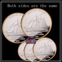american sailing ships - American Amistad Cinque sailing ship Double sided Sailing year Roger baldwin john quincy adams coins silver plated souvenir coin