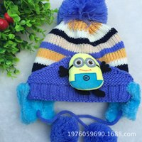 Boy artificial owl - 2014 New Minion hat crochet pattern despicable me Hat With earflap Crochet Baby OWL Beanie Hootbelle Hat Animal hat color available