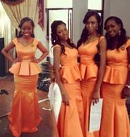 amazing samples - Amazing Real Sample Long Bridesmaid Dresses Orange Satin Mermaid V Neck Peplum Prom Dresses Maid of Honor Dress Wedding Party Gowns