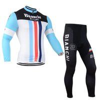 bianchi bike jersey - Bianchi men cycling Jersey sets in winter autumn fall with long sleeve bike top bib pants in cycling clothing bicycle