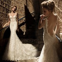 vogue wedding dress - Vogue of new fund of V Neck mermaid wedding dress trailing lace sexy backless wedding dresses plus size wedding dresses wedding gowns