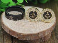 masonic - USA UK Canada Russia Brazil Hot Sale A9 Tungsten Masonic Ring Golden Stainless Steel Masonic CuffLinks Jewelry Set
