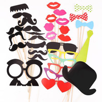 photo booth - 32 Funny Photo Booth Props with lips moustaches glasses Cute fashion for wedding party brithday party Christmas Party Supply Decorations