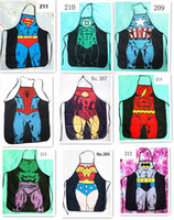 funny novelty aprons - HOT sale Sexy Men Women Apron superhero Apron spiderman avengers Batman Kitchen Cooking Chef Novelty Funny Naked BBQ Party D477