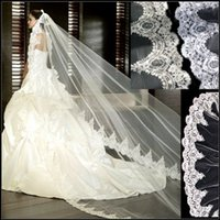 Wholesale Vintage White Ivory Long Tulle Wedding Bridal Veil One Layer Applique Lace Wedding Veils Hot sell
