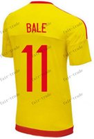 Wholesale wales new season away yellow bale soccer jerseys thai quality customized player football jerseys tops football shirts