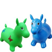baby ride toys - Green Horse Hopper Inflatable Toy Jumping Horse Space Hopper Ride on Bouncy Animal Toys for kids Baby Toddler Education learning Toy