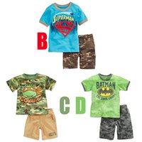 Cheap 2015 new style summer boys outfits short sleeve T-shirt+Camouflage shorts baby boy 2pcs clothes set batman TMNT Superman boy's suits sets