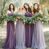 Wholesale Fashion Tulle Custom Made Bridesmaid Dress Convertible Dresses A line Purple Maid Of Honor Ruffle Cheap Promotion Bridesmaid Gown
