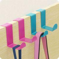 Wholesale Stainless steel double door back hooks creative free nail coat hanger hooks door trace pic