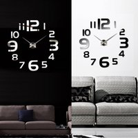 Wholesale Anself Silver Black Creative DIY Mirror Effect Wall Clock Removable Acrylic Room Decals Set Art Decor Home Decoration H15393