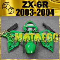 Wholesale Five Gifts Motoegg Injection Mold Plastic Fairings Body Kit For Kawasaki Ninja ZX R ZX R ZX6R Flames Green K63M39