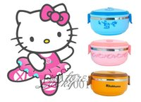 plastic food storage container - Cute Cartoon Hello Kitty Stainless Steel Thermal Insulation Lunch Box Food Container Storage Box Portable Bento Box