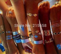 Wholesale New Design Body Tattoo Bracelets Necklace Gold Temporary Tattoos Sticker Sex Product Metallic tattoos Tatouage O101