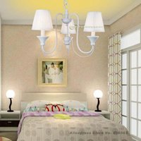 Wholesale Rustic Style Modern Chandeliers with Lights in White Pink Lampshade