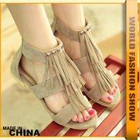 tassel - Big Size Fashion Rome Stylish Women Summer Rivets Tassel Shoes Hot Sale Sandals Ladies Dress Brand flats JSA537