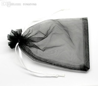 Wholesale Hot Sale x15cm Black Organza Wedding Gift Bags Pouches Saco