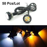Wholesale 50pcs mm Car styling LED DRL Eagle Eye Daytime runing lights Warning Fog lights with turning signal Newest