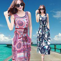 adult getaway - new Summer Cotton Dress temperament slim sleeveless thin printing Bohemia beach getaway lips cartoon geometric patterns