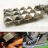 Wholesale 100Pcs Fashion mm DIY Spike Square Stud Rivet Punk Bag Belt Craft Silver Stainless Steel hv3n