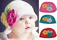 Cheap free shipping 104 styles baby crochet hat mixed wholesale and retail Two flowers beanie Children's Hats