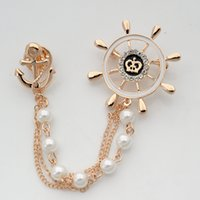 anchor chain manufacturers - Rudder with anchor brooch wild fashion pearl brooch chain manufacturers custom helm plus selling and retail