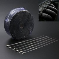 Wholesale 2 quot Ft Roll Black Fiberglass Exhaust Header Pipe Heat Wrap Tape Ties Kit