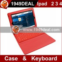 best ipad keyboard case leather - Best Quality General Waterproof Leather Case Cover With Bluetooth Keyboard For Ipad Red In Stock deal
