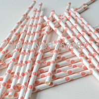 bachelorette shower - 200pcs Coral Pink Polka Dot Paper Straws Baby Shower Cake Pop Sticks Bachelorette Party Supplies Decorations