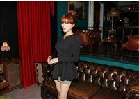 korea fashion blouse - casual Vintage fall Fashion Charming korea V neck Puff Long sleeves office formal Fitted Peplum Blouse T shirt Tops shirts