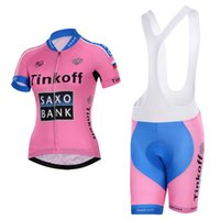 pink jersey - Tinkoff Saxo Style Cycling Jersey Set Short Sleeve Jersey Padded Bib None Bib Trouseres Pink Team Cycling Wear XS XL Bicycle Suit