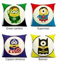 Wholesale DHL Ship Minions Cushion case Super Hero Pillow Case Batman Superman Iron Man Cushion Cover Sofa Linen Cotton Cushions Pillows Cover Present
