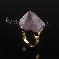 amethyst druzy ring - Charms Gold Plated Natural Amethyst Quartz Crystal Druzy Gemstone Random Shape Healing Stone Adjustable Finger Ring Jewelry