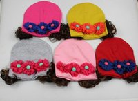 beach wig - New spring and autumn and winter newborn baby girl wig hat headgear baby wool cap