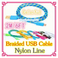 Wholesale DHL500 M FT Extra Long Extension USB Fiber Braided Charger Cable Sync Data Fabric Knit Nylon Chargring Cord Lead For Cellphone DD03