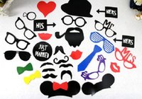 Wholesale 100set set DIY Photo Booth Props Set of Wedding Party Photobooth Funny Masks Bridesmaid Gifts For wedding photo props