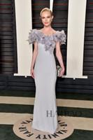 Alfombra roja del hombro fuera España-Kate Bosworth 2016 88ª noche Oscar vestidos de la celebridad del desgaste de la flor del hombro Partido Prom Vestidos de gasa de la sirena larga alfombra roja del desgaste