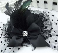 Wholesale BLACK Lady Feather Bow Hair Clip Lace Mini Top Hat Party Cosplay Hair Clips Fancy Dress