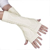 Wholesale Chic Lady Girl Knitting Cotton Long Arm Gloves Warm Knitted Arm Mitten Fingerless White Gloves DME6