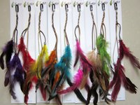 Wholesale fashion natural feather leather clip Hair extension wedding headwear