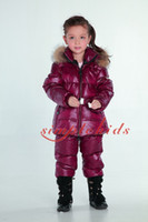 Wholesale 2015 New style kid down coat down pants raccoon fur warm girls outerwear snowsuit outfits girls clothing sets ski suit